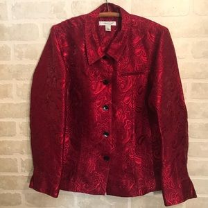 Cold Water Creek Red Jacquard Blazer Sz. Large